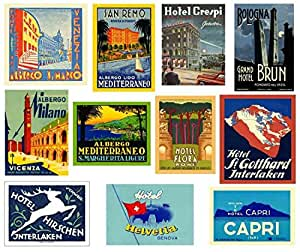 Repro Vintage Hotel Luggage Label Stickers - Pack of 11 Suitcase Travel Decals