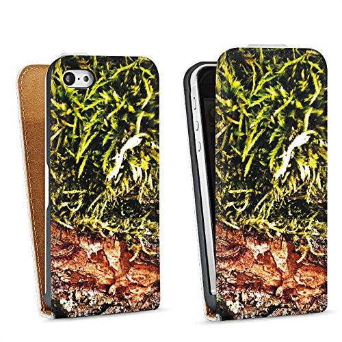 Apple iPhone 4 Housse Étui Silicone Coque Protection Écorce Bois Marais marécage mousse Sac Downflip blanc