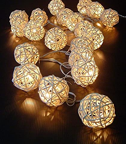 LIFECART 20 LED Rattan Ball Fairy String Lights Patio Lighting for Outdoor, Gardens, Homes, Wedding, Christmas