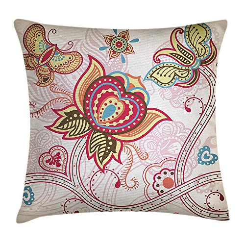 ZTLKFL Floral Throw Pillow Cushion Cover, Flower and Butterfly Figures Asian Stylized Floral Arragement Design Print, Decorative Square Accent Pillow Case, 18 X18 Inches, Pink Beige Khaki - Asian Floral Print