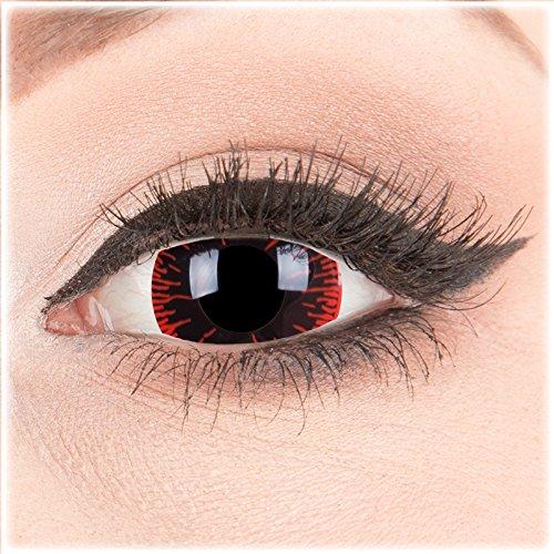 Farbige Mini Sclera Halloween Kontaktlinsen 'Hangman' - 17mm MeralenS Horror Lenses inkl. Behälter - 1Paar (2 Stück)