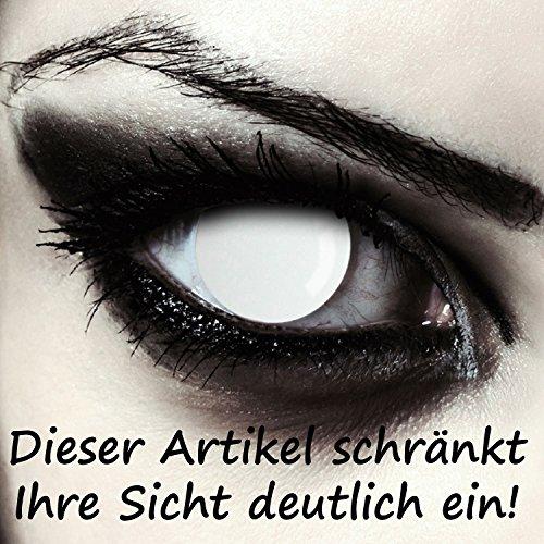 (Komplett weiße Zombie Kontaktlinsen für Halloween Kostüm, 2 Stück, Designlenses Model: Blind White)