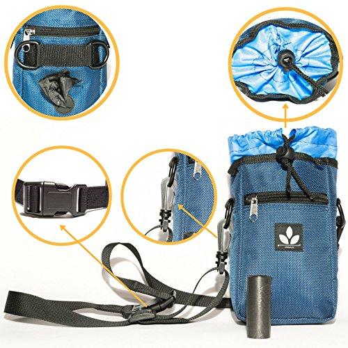 AnimaliX Qualitätsprodukt   Leckerlibeutel für Hunde Training mit Platz für Leckerlis Belohnungen Trockenfutter Spielzeug etc. mit verstellbarem Tragegurt + eine integrierte Rolle Kotbeutel extra