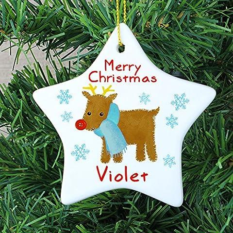Occasions Direct-Palla per albero di Natale a forma di renna, per albero di Natale, il primo Natale, motivo: Rudolph, Confezione regalo pallina