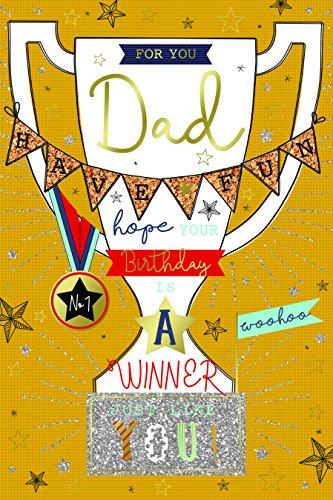 Special Days Besondere Tage für Sie Dad Trophy Winner & Wimpelkette Design Happy Birthday Karte Lovely Vers