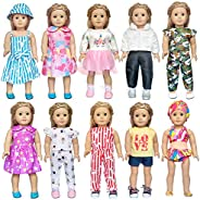 ARTST 18 inch Doll Clothes and Accessories 10 Set of American Girl Doll Clothes for 18 Inch American Girl Doll
