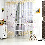 Best Home Fashion Sheer Curtains - Zibuyu Butterfly Floral Tulle Voile Widow Curtain Rose Review