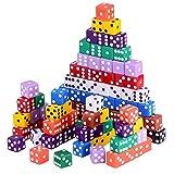Austor 100 piezas, juego de dados, 10 colores Square Corner dados con...
