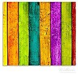 Wallario Herdabdeckplatte / Spritzschutz aus Glas, 2-teilig, 60x52cm, für Ceran- und Induktionsherde, Buntes Holz - bunte Streifen mit Farbe und Holzstruktur