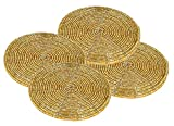 #5: H & W Decorative Handmade Gold Round Beaded Coaster Perfect for Dining Table (10 cms, Dia - 4