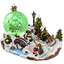 WeRChristmas 25cm Santa Scene Animated Snow Globe Christmas Decoration with Revolving Train and ON/OFF Music Option