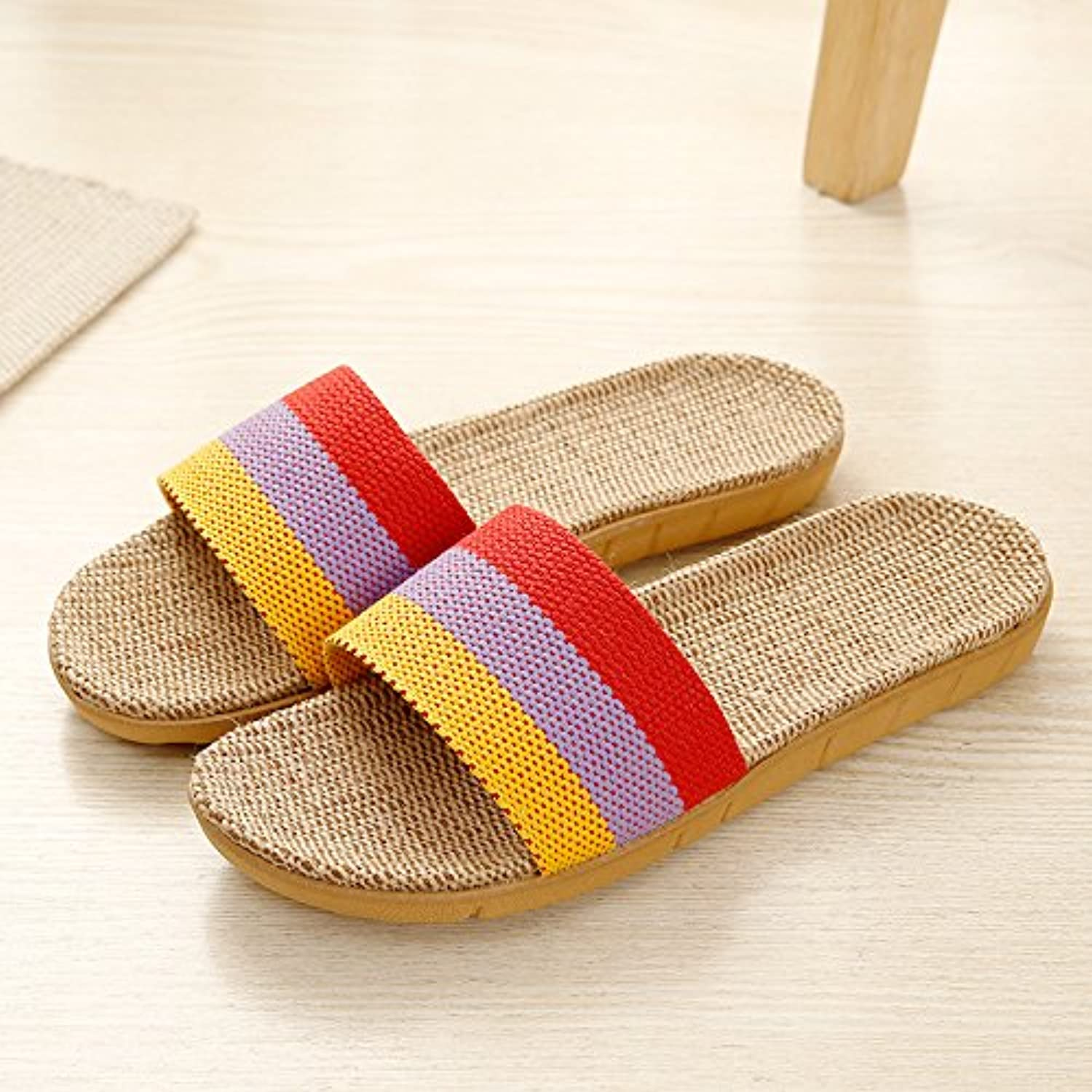 fankou Summer Home Linen Summer Cool Slippers Summer Linen Girls Stay in The Room for Couples Anti-Slip Thick  's Wooden... - B07C8D66YR - 5ad634