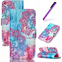 iPod Touch 5 6th Funda,EMAXELERS Synthetic PU Cuero Billetera Iman Diseño Flip Stand Funda Cover Para Apple iPod Touch 5 6th Generation + Send 1 Stylus Pen Colorful flowers