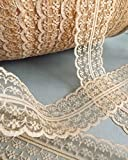 RIBBON QUEEN Vintage Style Lace Ribbon Trimming Bridal Wedding Scalloped Edge 47mm (Vintage Cream)