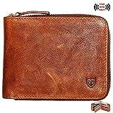 RFID Herren Leder Zipper Brieftasche Zip um Brieftasche Bifold Multi Kartenhalter Geldbörse (braun)