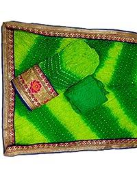 Jaipuri Rajasthani Suit Art Silk Bandhej Gota Patti Dark Light Green Top Dupatta & Bottom