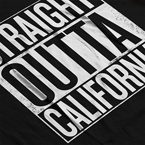 White Text Straight Outta California US States Women's Sweatshirt Black