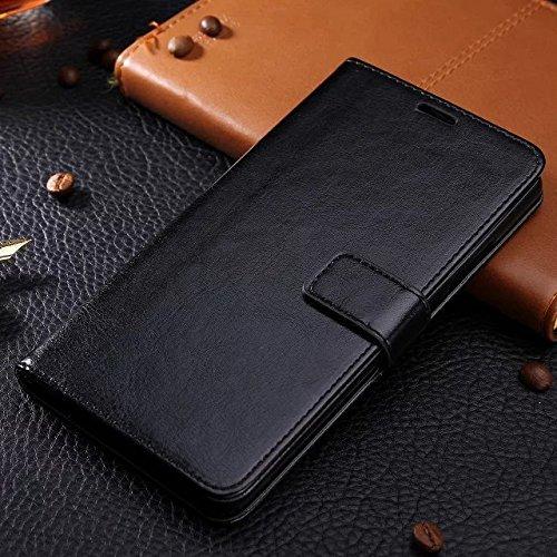 Wkae Case Cover caso Samsung J5, in pelle modello di colore caso di stile del raccoglitore solido disegno magnetico Flip Folio copertura dellunità di elaborazione della copertura della cassa standup  Black
