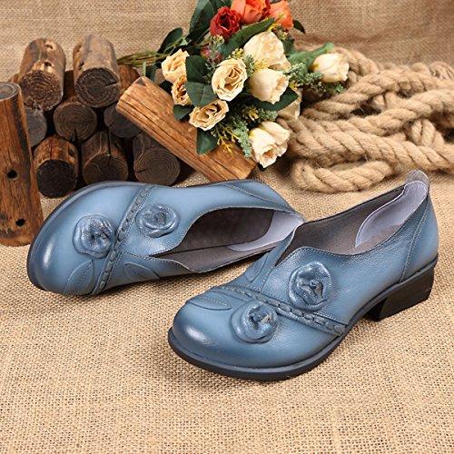 Poiture Carrés Bleu Chaussures Marron Socofy Voir À Enfiler Cuir l1JuTFKc3