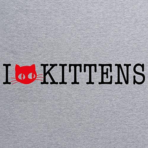 I Heart Kittens T-Shirt, Damen Grau Meliert