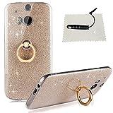 TOACSO HTC One M8 Hülle Silikon Transparent, HTC One M8 Hülle Glitzer Ultra Slim [Weiche TPU Abdeckung + Glitzer Papier] 3 in 1 Hybrid Hülle Kickstand Halter Hülle HTC One M8 - Crystal Golden
