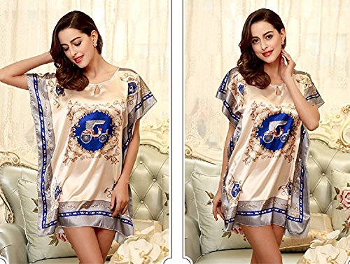 BigForest Femmes Short Batwing Sleeve Pyjama Satin Soie Rome Peignoir robe set C2 blue