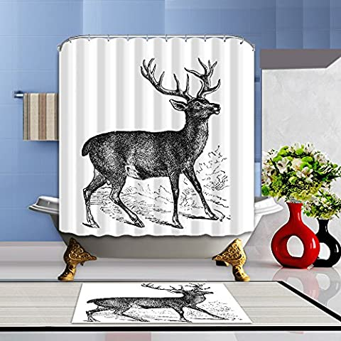BATH-CURTAIN Bathroom Decoration Set Polyester Frabric Washable 3D Printing 175X175CM Elk Patterned Shower Curtain with 12 Hooks and Funny Bath Mat Rugs