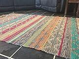 Panama Multi Farbe Baumwolle & Jute handgewebt indischen Kelim Teppich 90cm x 150cm