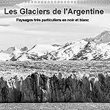 Les glaciers de l'Argentine : Champs de glace imposants du sud de la Patagonie en noir et blanc