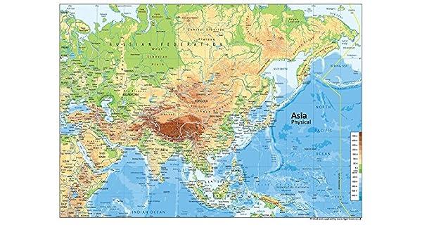 Cartina Fisica Stati Uniti Da Stampare.Cartina Fisica Dell Asia Carta Plastificata Misura A1