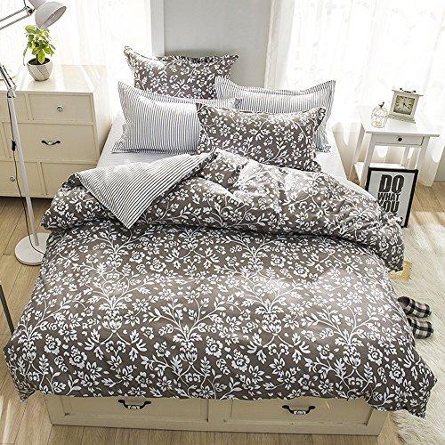 zhimian 100% Mikrofaser Print 3-teiliges Bettbezug-Set Hidden Reißverschluss, Polyester, grau, King Size (Bettdecke, Kissen Einfügen)