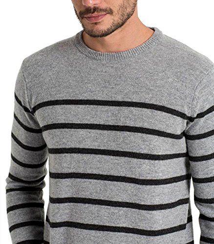 Wool Overs Pull marin homme en laine d'agneau Flannel/Charcoal