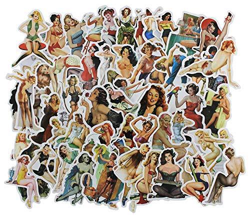 Pin Up Girl Sexy Frauen Sticker, 100 Stück, Vintage-Retro-Aufkleber, Vinyl-Aufkleber für Snowboard, Skateboard, Gepäck, Laptop, Autos, Gitarre, Stoßstange, Motorrad, wasserdicht