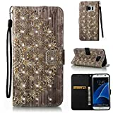 Coque pour Samsung Galaxy S7 Edge Étui Bookstyle , Samsung Galaxy S7 Edge Coque Flip Housse Wallet Protection Etui,Cozy Hut Motif Retro Peint Housse en Cuir Case à Avec Dragonne rabat Coque de Intérieure Protection Souple Portefeuille TPU Silicone Case Cover pour Samsung Galaxy S7 Edge - golden Flower