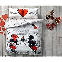 "Disney, Mickey & Minnie In Love perfect match diseño con texto ""Big Love de San Valentín Día, doble Reina edredón de tamaño–4piezas"