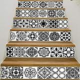 YFXGSTLI Klassische Schwarz Weiß Keramik Muster Wandfliese Treppen Aufkleber Abnehmbare PVC Wandaufkleber Wasserdichte Wandbild Poster Zimmer Stairway 6 Teile/Satz 18 * 100 cm