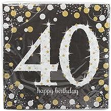 511545 Amscan-Tovaglioli 33 cm di carta per festa 40° compleanno, colore: oro - 40 Festa Di Compleanno