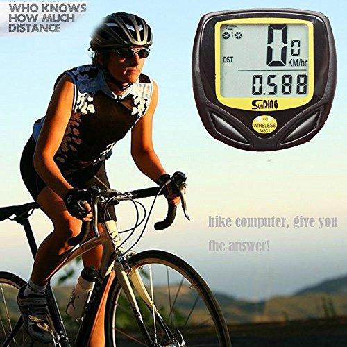 QHJ Fahrrad Wasserdichter drahtloser LCD Digital Zyklus Fahrrad Computer Fahrrad Geschwindigkeitsmesser Entfernungsmesser (Schwarz)