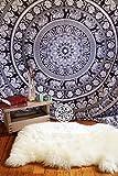Bohomandala Wandbehang / Tagesdecke, im traditionellen indischen Stil, Mandala-Design, Schwarz / Weiß, baumwolle, schwarz, Double Bed (210cm x 240cm)