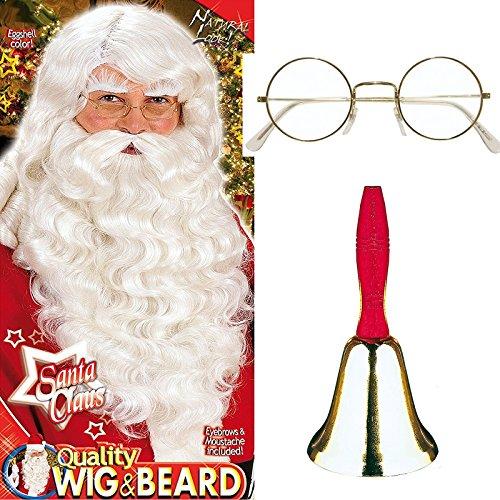 3-teiliges Verkleidungs-Set * WEIHNACHTSMANN * für den perfekten Weihnachtsmann mit Perücke,Bart und Augenbrauen S0785 und Brille // Set Verkleidung Kostüm Nikolaus Bart Brille Kinder