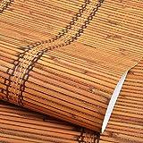 Tapeten Chinesische klassische Bambus geflochtene Zöpfe Tapete Restaurant, Wohnzimmer TV Hintergrund Wand Arbeitszimmer, Hotel Teehaus japanische Tapete, Herbst gelb 5233-70, nur Wallpaper
