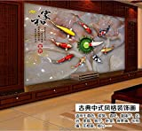 Y-Hui Set nine fish map home and large fresco sofa TV background wallpaper wallpaper 3D stereo imitation jade wallpaper,180cmX120cm