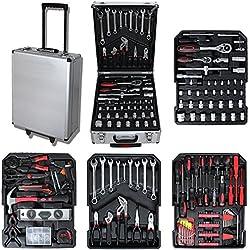 Todeco - Werkzeugkasten, DIY-Set - Größe: 50 x 37 x 23 cm - Material: Kohlenstoffstahl - 251 Tools, mit Aluminumkoffer and Teleskopgriff