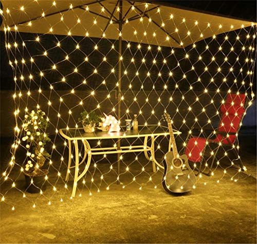 QHCGOOD 2 Mt X 3 Mt 320 LED Wasserdicht 8 Modi Lichterketten Net Mesh Fairy Net Licht Indoor Outdoor Hausgarten Halloween Weihnachtsfeier Hochzeit Dekoration (110-240 V) warm White (Halloween-outdoor Net Lichter)