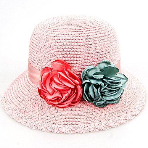 2017 Printemps Des Dames Et De L'été Nouveau Flat Top Chapeau De Paille Chapeau De Soleil Big Brim Hat pink