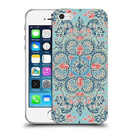Offizielle Micklyn Le Feuvre Diamanten Doodle Navy Blau Und Kreme Blumige Muster Soft Gel Hülle für Apple iPhone 6 Plus / 6s Plus Rot Und Blau