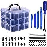 Remaches Plastico Clips de coche y clip de remache de guardabarros de plástico sujetador, 16 tamaños Kit de remaches de empuj