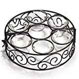Tea Light Candle Holders 6 Sets Flower- Hollowed Metal Candlestick for Umbrella Parasol Lights Ideal for Home Garden Party Wedding Table Romantic Dinner Indoor Outdoor Decoration (candles not included)
