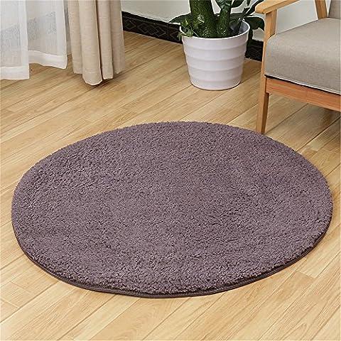 Quibine Tapis Rond Shaggy Rug Decor Salon Chambre Bain, Diamètre 100CM, Gray-violet