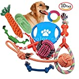 10 Set Pet Rope Toys, Chew Toys for Dogs Teeth Aids for Small to Medium Pet Material Non-Toxic Tasteless Sturdy Durable